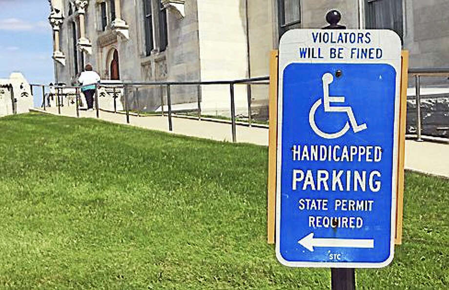 Handicapped parking sign at the state Capitol in Hartford Photo: Cyrus Dos Santos / Ctnewsjunkie