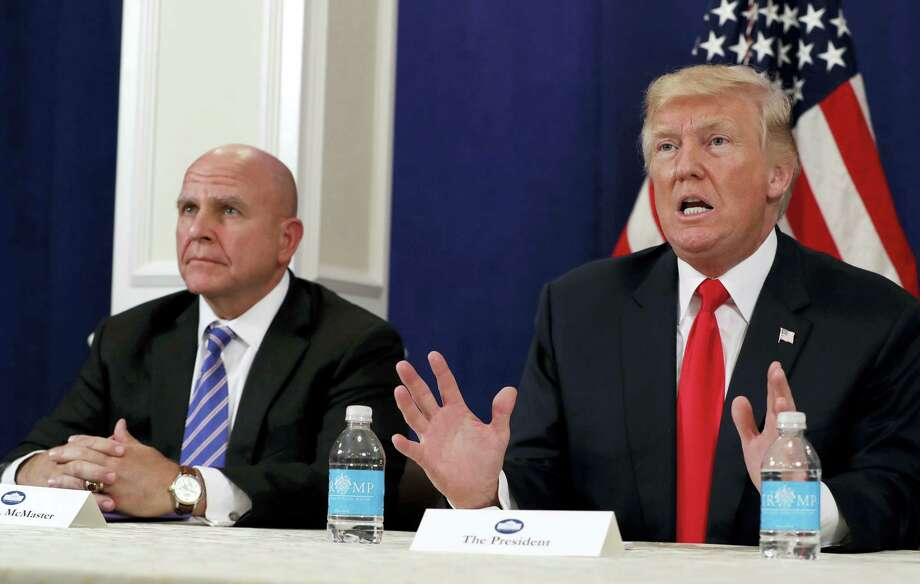 President Donald Trump, accompanied by National Security Adviser H.R. McMaster, speaks during a security briefing, Thursday, Aug. 10, 2017, at Trump National Golf Club in Bedminster, N.J. Photo: AP Photo/Evan Vucci   / AP
