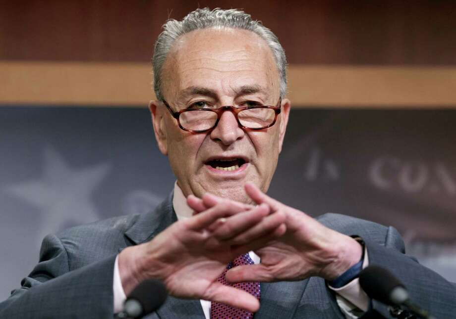 """Senate Minority Leader Chuck Schumer of N.Y., speaks to reporters on Capitol Hill in Washington, Friday, July 28, 2017, after the Republican-controlled Senate was unable to fulfill their political promise to repeal and replace """"Obamacare."""" Photo: J. Scott Applewhite / AP Photo  / Copyright 2017 The Associated Press. All rights reserved."""