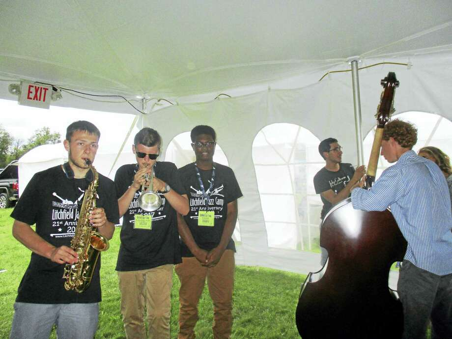 Students from the Litchfield Jazz Camp were tuning up for their next performance in the smaller tent. Photo: Photos By Jo Ann Jaacks