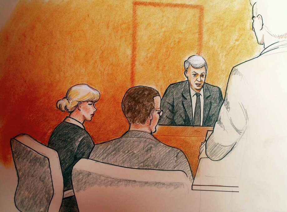 In this sketch by courtroom artist Jeff Kandyba, pop singer Taylor Swift, left, and a defense attorney look on as former radio host David Mueller, background right, speaks during a civil trial in federal court Tuesday, Aug. 8, 2017, in Denver. Swift alleges that Mueller touched her during a concert meet-and-greet in 2013. The case went to court after Mueller sued Swift, claiming her false accusation cost him his job. He is seeking at least $3 million in damages. Swift countersued, claiming sexual assault. Photo: Jeff Kandyba Via AP  / Copyright 2017 The Associated Press. All rights reserved.