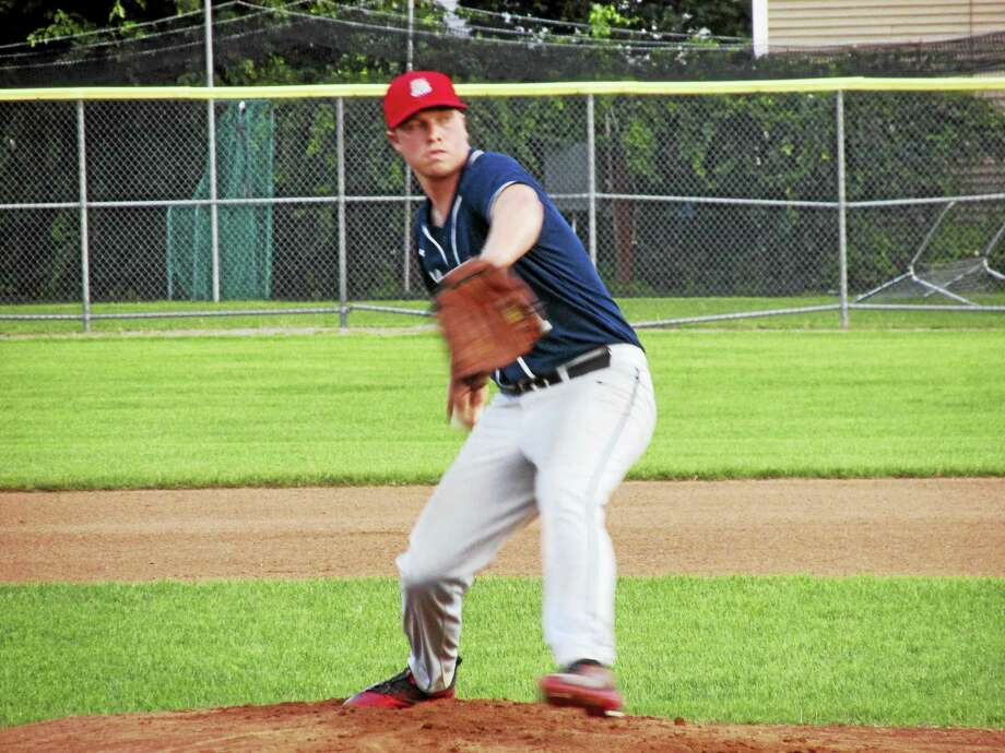 Kevin Murray gave up just five hits in eight innings in Naugatuck's win over Bethlehem Thursday night at Fuessenich Park. Photo: Photo By Peter Wallace