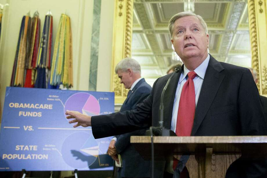Sen. Lindsey Graham, a Republican from South Carolina, speaks during a news conference last week about reforming health care. The Graham-Cassidy-Heller-Johnson (GCHJ) proposal repeals the structure of Obamacare and replaces it with a block grant given annually to states to help individuals pay for health care. (Andrew Harrer/Bloomberg) Photo: Andrew Harrer / © 2017 Bloomberg Finance LP