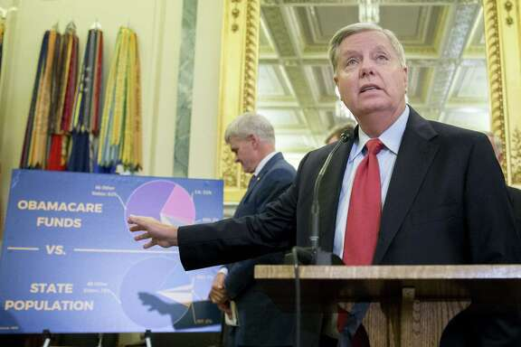 Sen. Lindsey Graham, a Republican from South Carolina, speaks during a news conference last week about reforming health care. The Graham-Cassidy-Heller-Johnson (GCHJ) proposal repeals the structure of Obamacare and replaces it with a block grant given annually to states to help individuals pay for health care. (Andrew Harrer/Bloomberg)