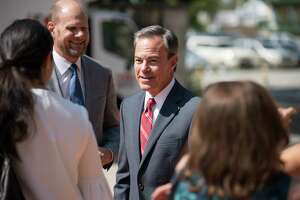 Texas Speaker of the House Joe Straus greets supporters as he arrives for a luncheon in his honor, Tuesday, Sept. 12, 2017, at La Villita in San Antonio. (Darren Abate/For the Express-News)