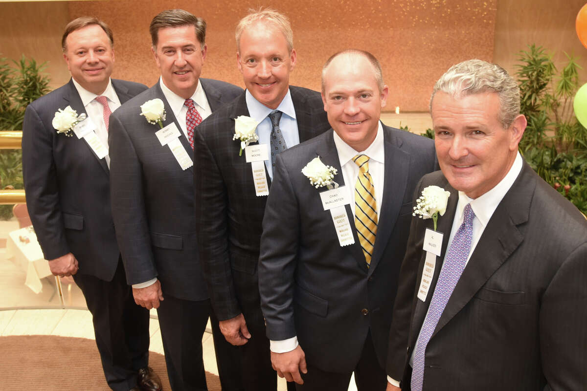 Anadarko Petroleum executives were honored by the Midland Wildcat Committee Sept. 19, 2017, at the Petroleum Club. Photographed from left, Exec. VP of US onshore operations Brad Holly, Exec. VP Bobby Reeves, Senior VP Operations Scott Moore, VP Operations Chad McAllaster, and CEO Al Walker. James Durbin/Reporter-Telegram