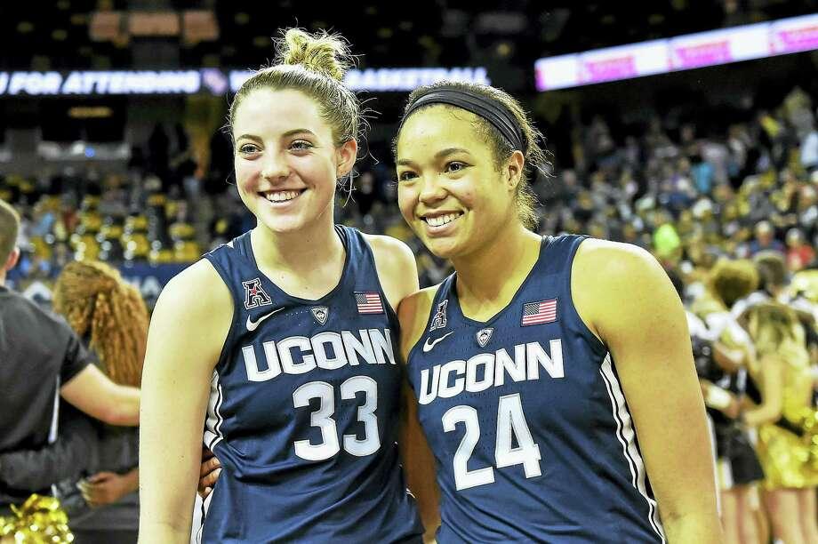 UConn's Katie Lou Samuelson, left, and Napheesa Collier. Photo: The Associated Press File Photo  / FR171497 AP