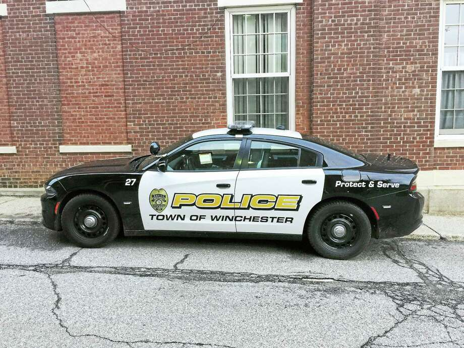 A Winchester police car, as seen outside of the department in Winsted. Photo: Ben Lambert /Hearst Connecticut Media