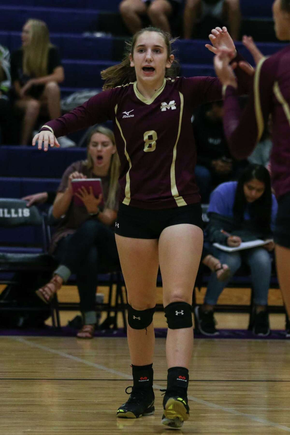 Magnolia West's Alyssa May (8) celebrates during the varsity volleyball game against Willis on Tuesday, Sept. 19, 2017, at Willis High School. (Michael Minasi / Chronicle)