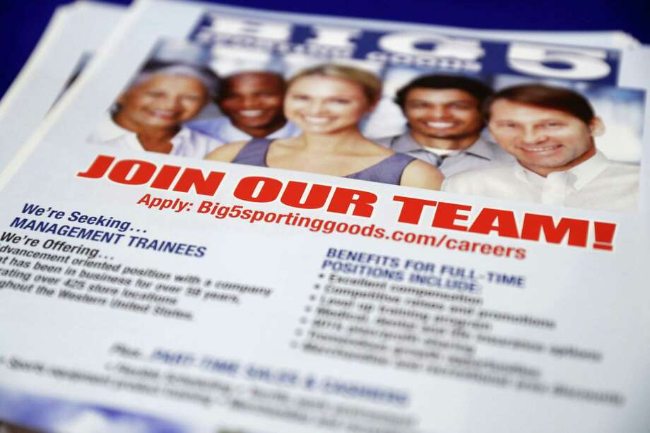 In this Thursday, Aug. 24, 2017, photo, a flyer advertises job openings with Big 5 Sporting Goods during a job fair in San Jose, Calif. On Thursday, Aug. 31, 2017, the Labor Department reports on the number of people who applied for unemployment benefits a week earlier. Photo: AP Photo/Marcio Jose Sanchez   / Copyright 2017 The Associated Press. All rights reserved.