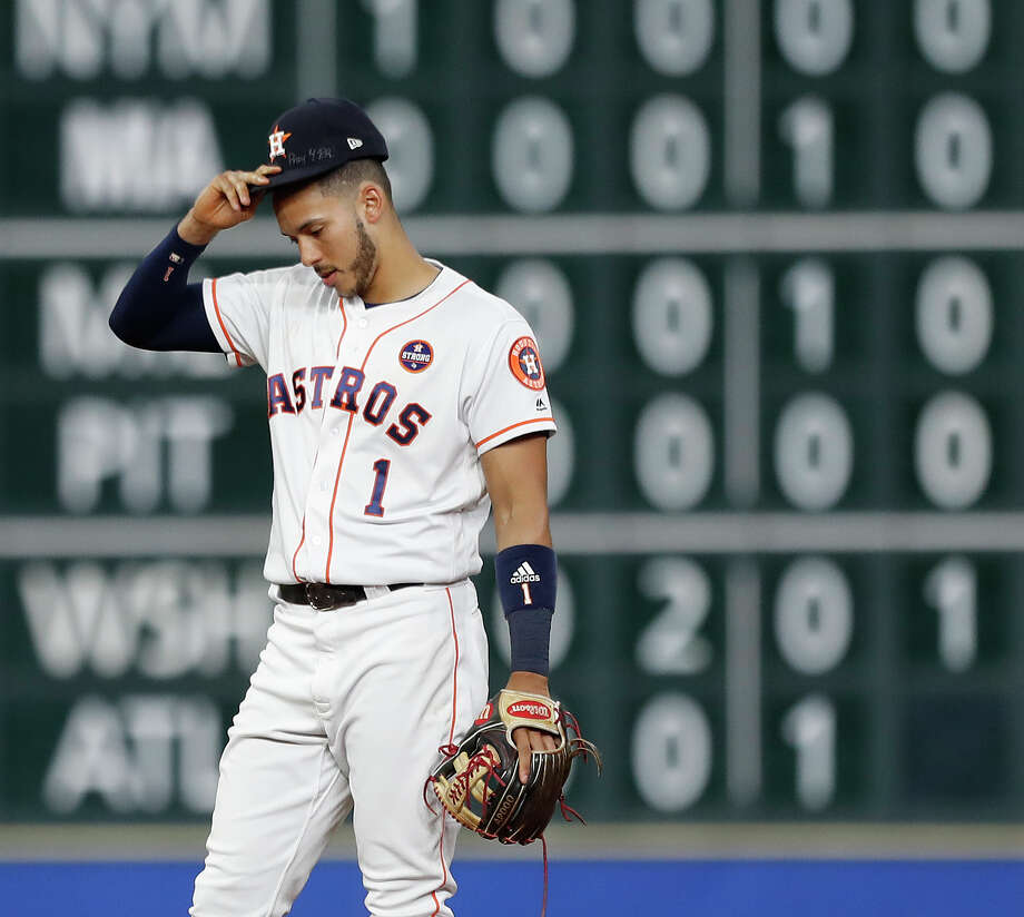 c16a90abad1 Houston Astros shortstop Carlos Correa (1) wears cleats with a Puerto Rican  flag on