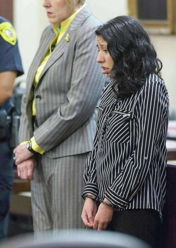 Antoinette Martinez listens Tuesday, Sept. 19, 2017 to victim impact statements after she was convicted of two counts of capital murder for killing Xavier Cordero, Jr. and Steven Rendon in 2014. Prosecutors did not seek the death penalty so Martinez was automatically given life without parole.
