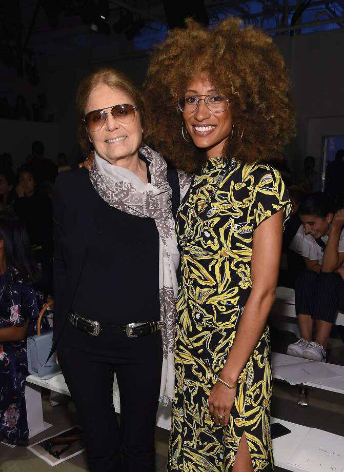 Elaine Welteroth, Teen Vogue editor-in-chief, with feminist author Gloria Steinem at the Prabal Gurung show at New York Fashion Week. Photo: Photo By Gary Gershoff/WireImage, WireImage