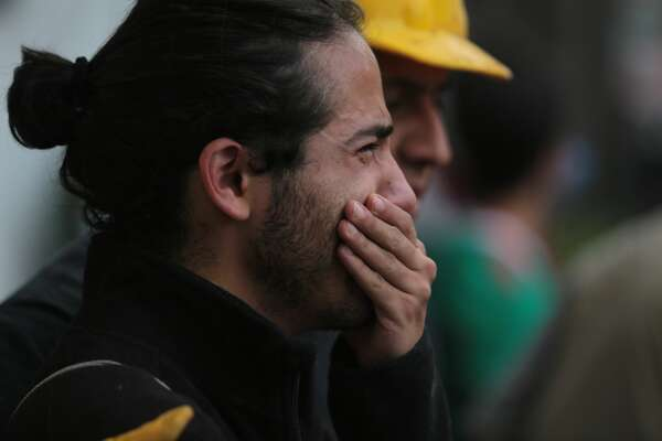MEXICO CITY, MEXICO - SEPTEMBER 19: A man cries after the magnitude 7.1 earthquake that jolted central Mexico damaging buildings, knocking out power and causing alarm throughout the capital on September 19, 2017 in Mexico City, Mexico. The earthquake comes 32 years after a magnitude-8.0 earthquake hit on September 19, 1985. (Photo by Hector Vivas/Getty Images)