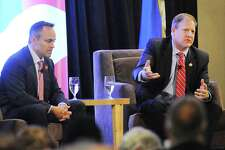 The governors of Kentucky, Matt Bevin, left, and New Hampshire, Chris Sununu, during the 39th annual Prescott Bush Awards Dinner.