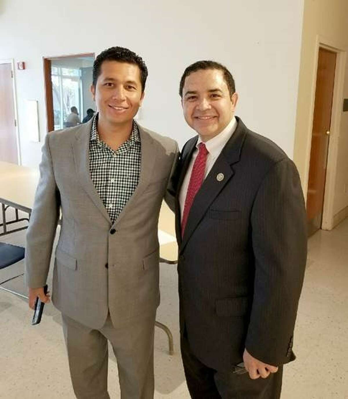 Congressman Cuellar, pictured right, meets with Sergio A. Martinez, Partnership Specialist - 2020 Census, U.S. Census Bureau-Denver Region, during a meeting at the Laredo Public Library Tuesday to discuss methods on how to properly count everyone in our community for the 2020 Census.