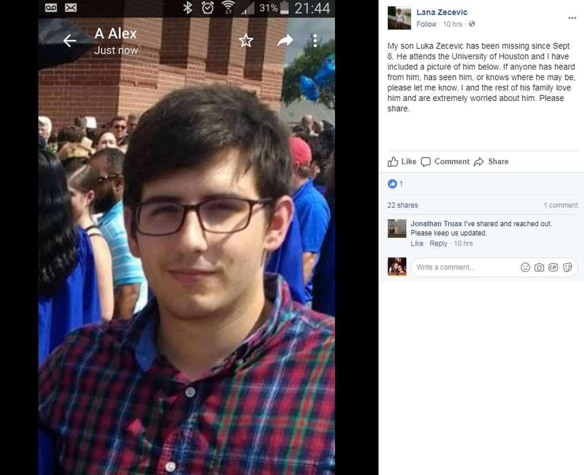 Luka Zecevic was last heard from Sept. 8.