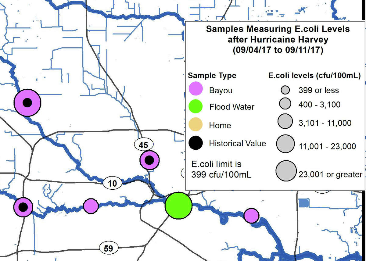 A new map from the Houston Health Department shows how some surface water around the city still had high amounts of E.coli in it following Hurricane Harvey just as of last week.