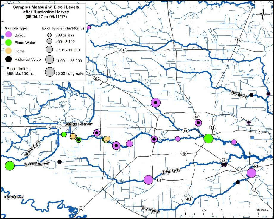 A new map from the Houston Health Department shows how some surface water around the city still had high amounts of E.coli in it following Hurricane Harvey just as of last week.Swipe through to see parts of this map zoomed in. Photo: Houston Health Department