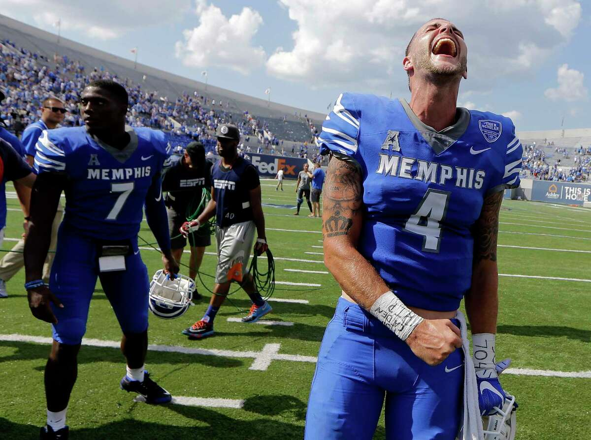 AAC POWER RANKINGS 2. Memphis (2-0) Quarterback Riley Ferguson (pictured) threw for nearly 400 yards and six touchdowns, wide receiver Anthony Miller caught nine passes for 185 yards and two scores and the Tigers slipped past UCLA, 48-45, on Saturday. The nationally televised win over Josh Rosen and company should help vault Memphis into the national spotlight, especially if they can remain undefeated over the next few weeks. The Tigers will host Southern Illinois, a Football Championship Subdivision school, on Saturday before opening conference play at UCF. - Tom Schad, The Commercial Appeal