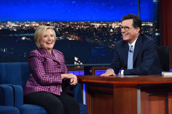 """The Late Show with Stephen Colbert"" and guest Hillary Clinton."