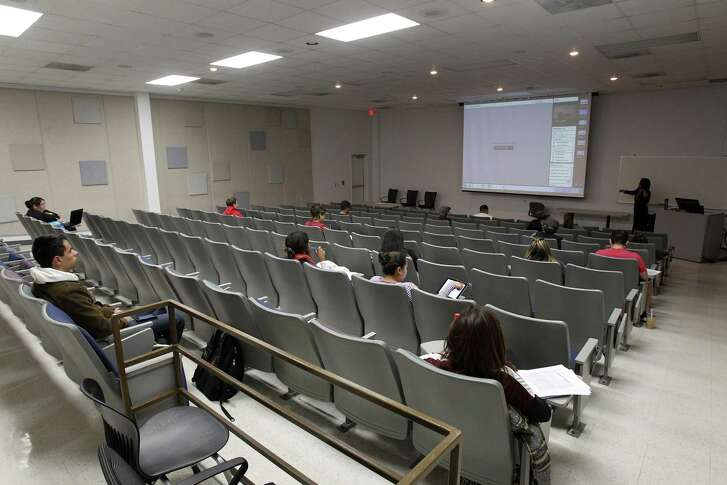 The San Antonio Independent School District will lease a classroom building at Brooks City-Base — shown here when it was used by Texas A&M University-San Antonio in 2014 — for an early college high school focusing on the medical and biological sciences. It will be the third Center for Applied Science and Technology, or CAST school, in San Antonio.