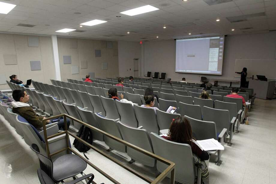 The San Antonio Independent School District will lease a classroom building at Brooks City-Base — shown here when it was used by Texas A&M University-San Antonio in 2014 — for an early college high school focusing on the medical and biological sciences. It will be the third Center for Applied Science and Technology, or CAST school, in San Antonio. Photo: TOM REEL /