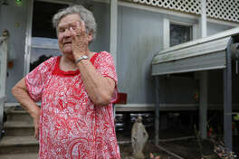 "Linda Satsky wipes tears away from her eyes as she talks about getting rejected from FEMA for assistance. ""I live on Social Security, I don't have extra money,"" said Satsky. Residents in   Liberty  , Texas talk about dealing the with aftermath of Hurriane Harvey onTuesday, Sept. 19, 2017. The National Weather Service estimates that   Liberty   County received more than 54 inches of rain when Harvey lashed the region late last month( Elizabeth Conley / Houston Chronicle )"