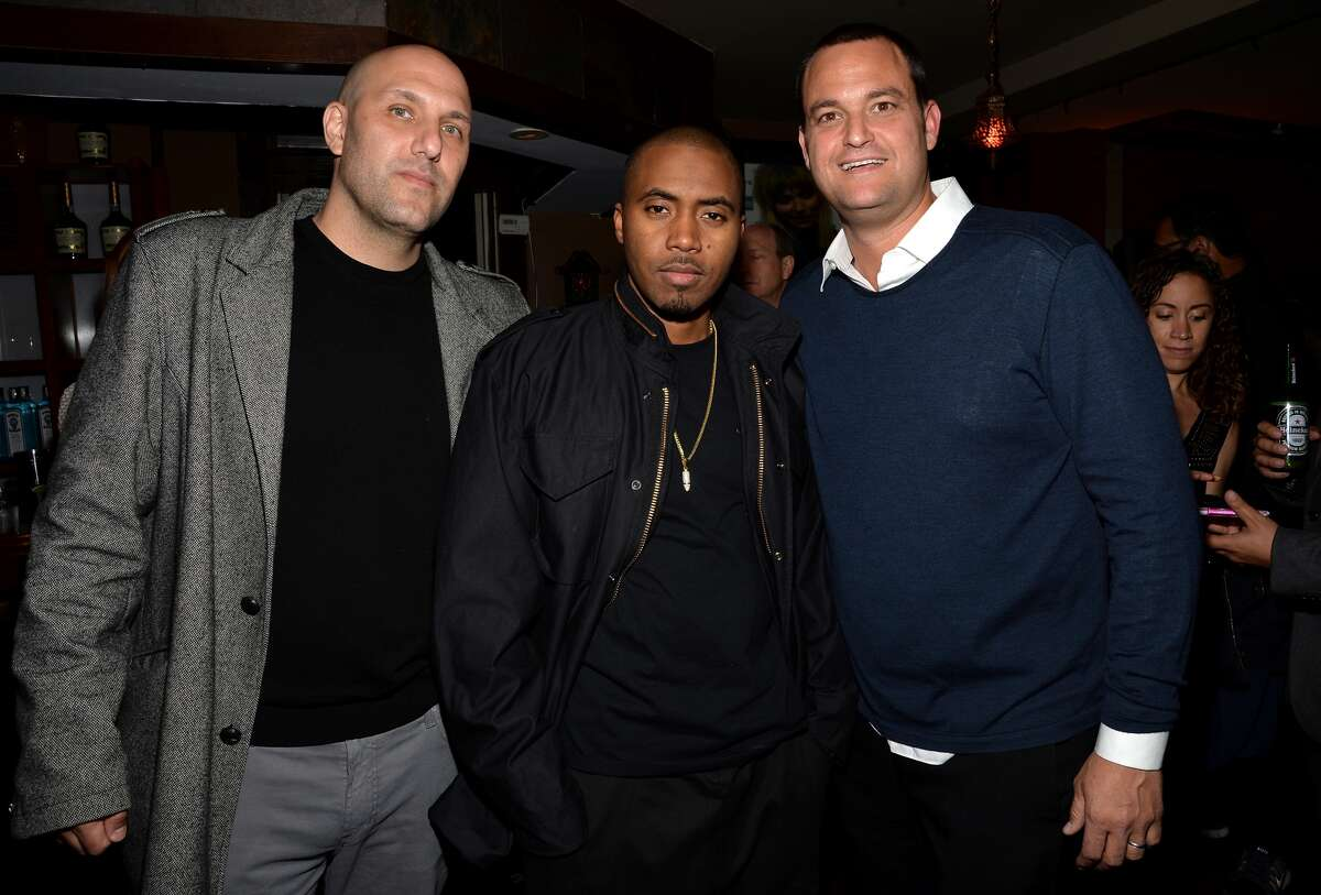 FILE -- Rich Kleiman, rapper Nas and Jamie Patricof attend a 2014 Tribeca Film Festival After-Party in New York City in this April 16, 2014 file photo. Prior to working with Kevin Durant, Kleiman had a long career in the music industry.