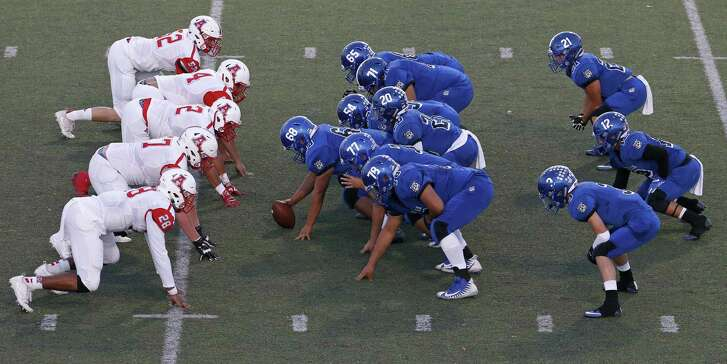 A view of the South San triple-option offense (right), with Raul Agosto at quarterback, against Antonian on Sept. 15, 2017 at South San Stadium.