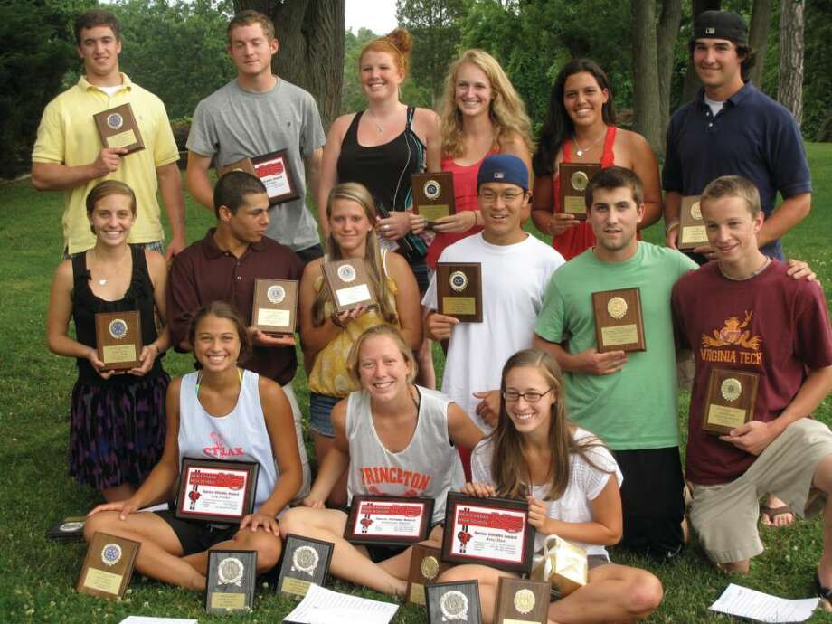 The award-winners at Tuesday's Athletic Picnic. Back row, from left: Cole Duncan, Jeff Spindel, Shelby Barada, Anjalie Christie, Cody Newton. Middle row, from left: Maggie Burke, Anthony Balzano, Emily Ely, Peter Park, Willie Ouellette, Alex Freeman. Front row, from left: Erin Fessler, Kacie Pippitt, Betsy Hart. Photo: Matt Norlander / New Canaan News