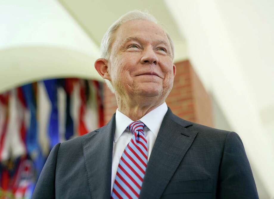 U.S. Attorney General Jeff Sessions smiles during an interview with The Associated Press at the U.S. Embassy in San Salvador, El Salvador, Thursday, July 27, 2017. Sessions is forging ahead with a tough-on-crime agenda that once endeared him to President Trump, who has since taken to berating him. Sessions is in El Salvador to step up international cooperation against the violent street gang MS-13. Photo: AP Photo/Pablo Martinez Monsivais   / Copyright 2017 The Associated Press. All rights reserved.