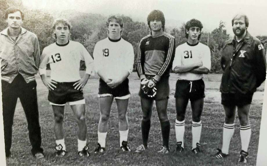 Jeff Bagwell, third from left, with 1985 Xavier High soccer teammates, from left, head coach Marty Ryczek, Pat McHugh, Bagwell, David Sizemore, Seb Fazzino and assistant coach Jack King. Photo: Submitted Photo