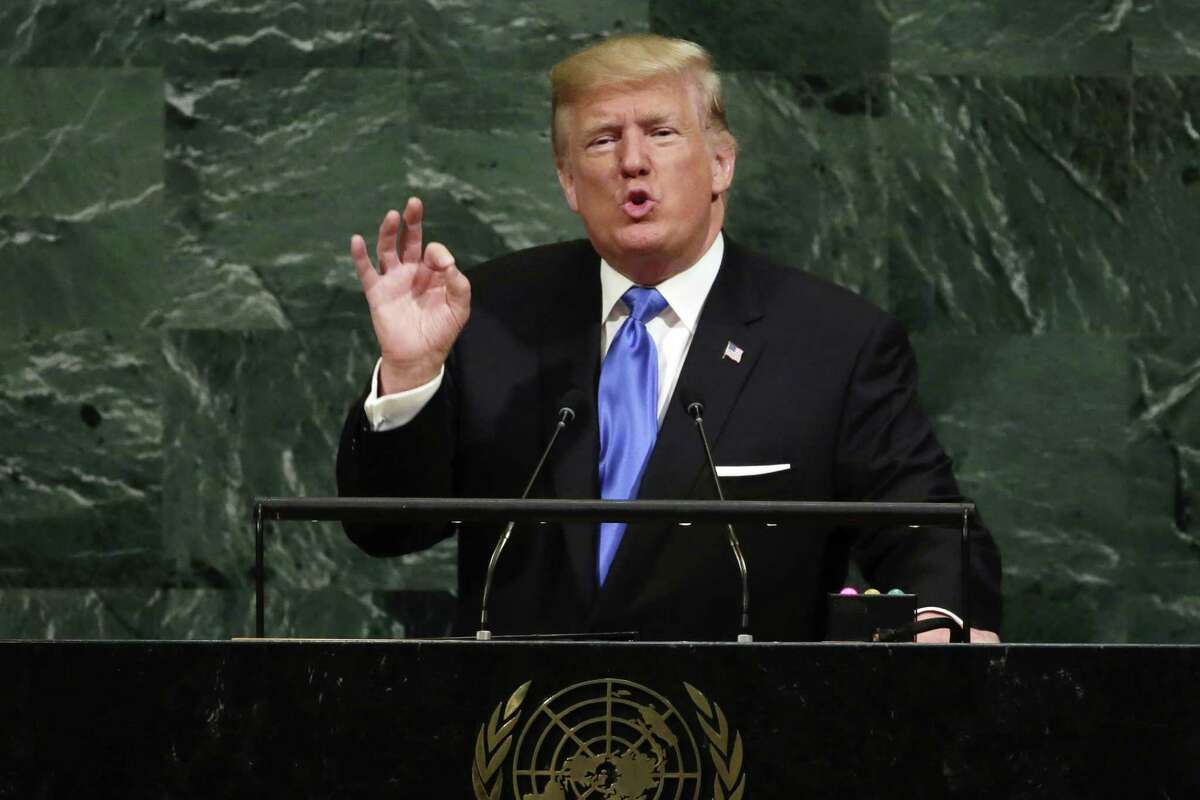 U.S. President Donald Trump addresses the 72nd session of the United Nations General Assembly, at U.N. headquarters, Tuesday, Sept. 19, 2017. (AP Photo/Richard Drew) ORG XMIT: UNRD125 ORG XMIT: MER2017091921460196