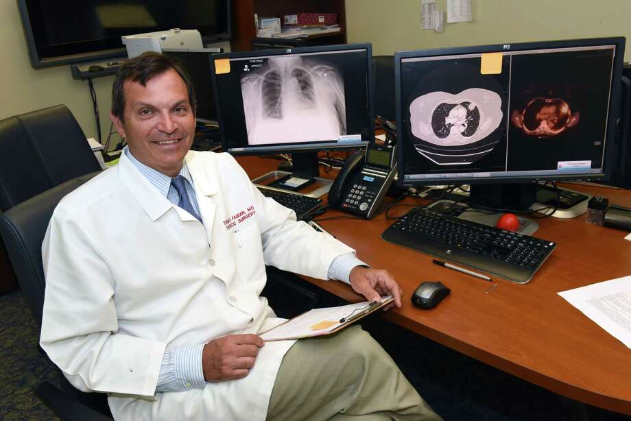 Dr. Thomas Fabian, section chief of thoracic surgery, sits next to computers with images of patients lungs at Albany Medical Center Wednesday, Aug. 16, 2017 in Albany, N.Y.  (Lori Van Buren / Times Union) Photo: Lori Van Buren / 20041203A