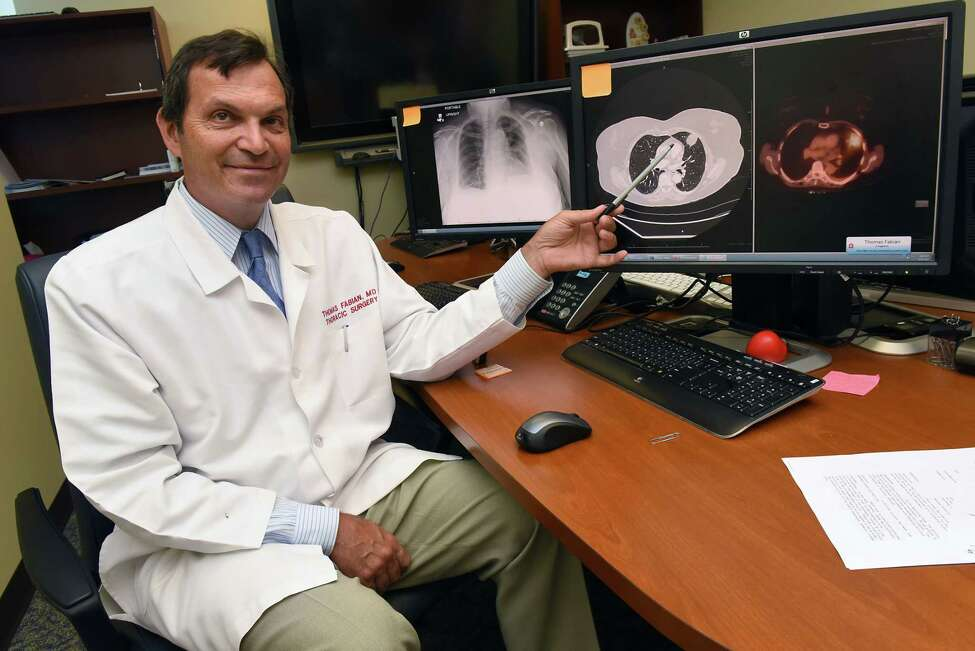 Dr. Thomas Fabian, section chief of thoracic surgery, sits next to computers with images of patients lungs at Albany Medical Center Wednesday, Aug. 16, 2017 in Albany, N.Y. (Lori Van Buren / Times Union)