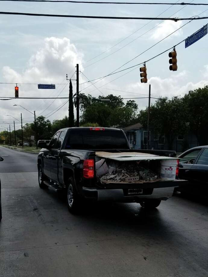 Beto Bracero snapped a photo of a Chevrolet Silverado at the intersection of Commercial Avenue and Southcross Boulevard, with a truckbed of plywood, buckets, bricks and nails.
