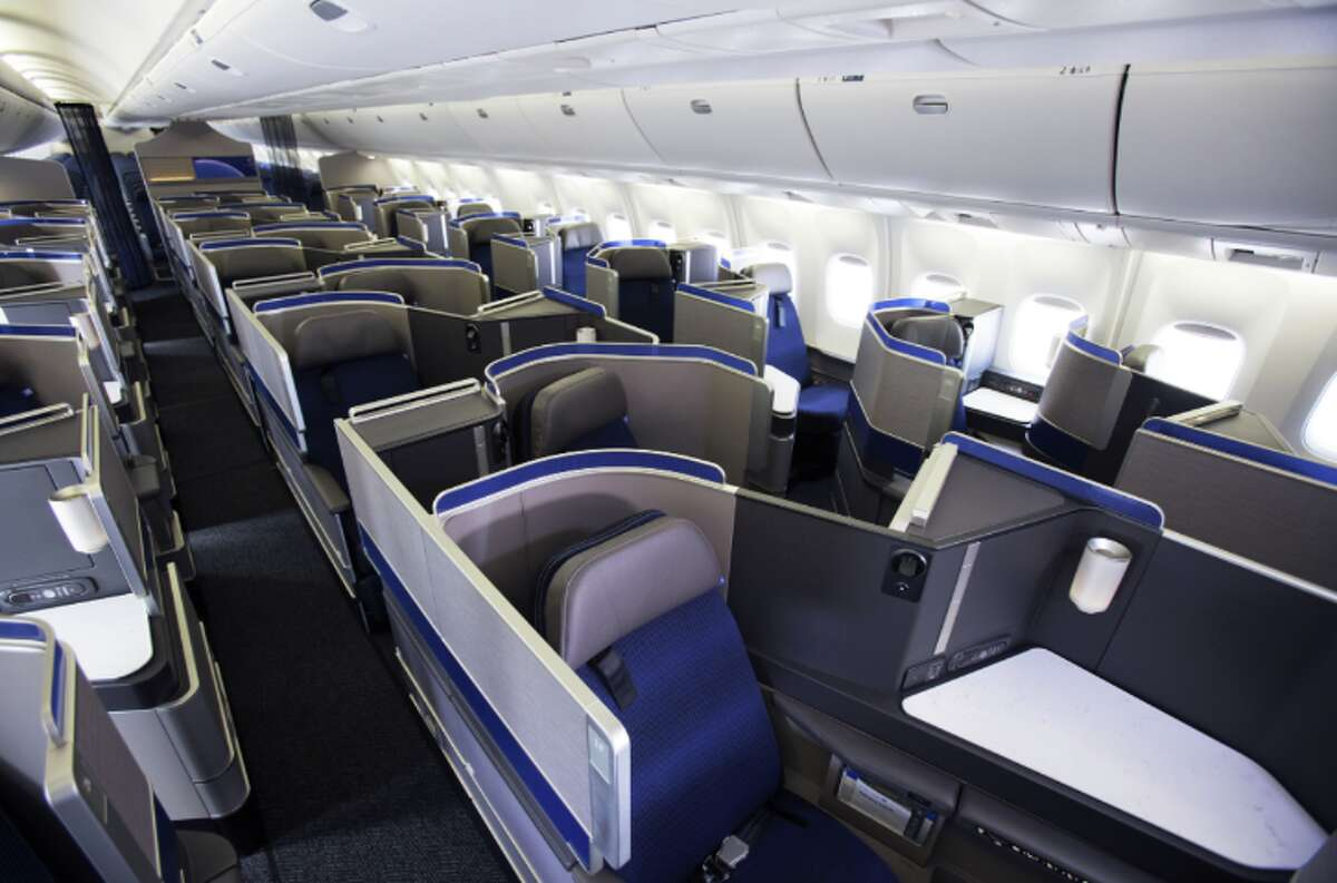 United's business class configuration on a Boeing 767-300ER. United calls this a 1-1-1 configuration.