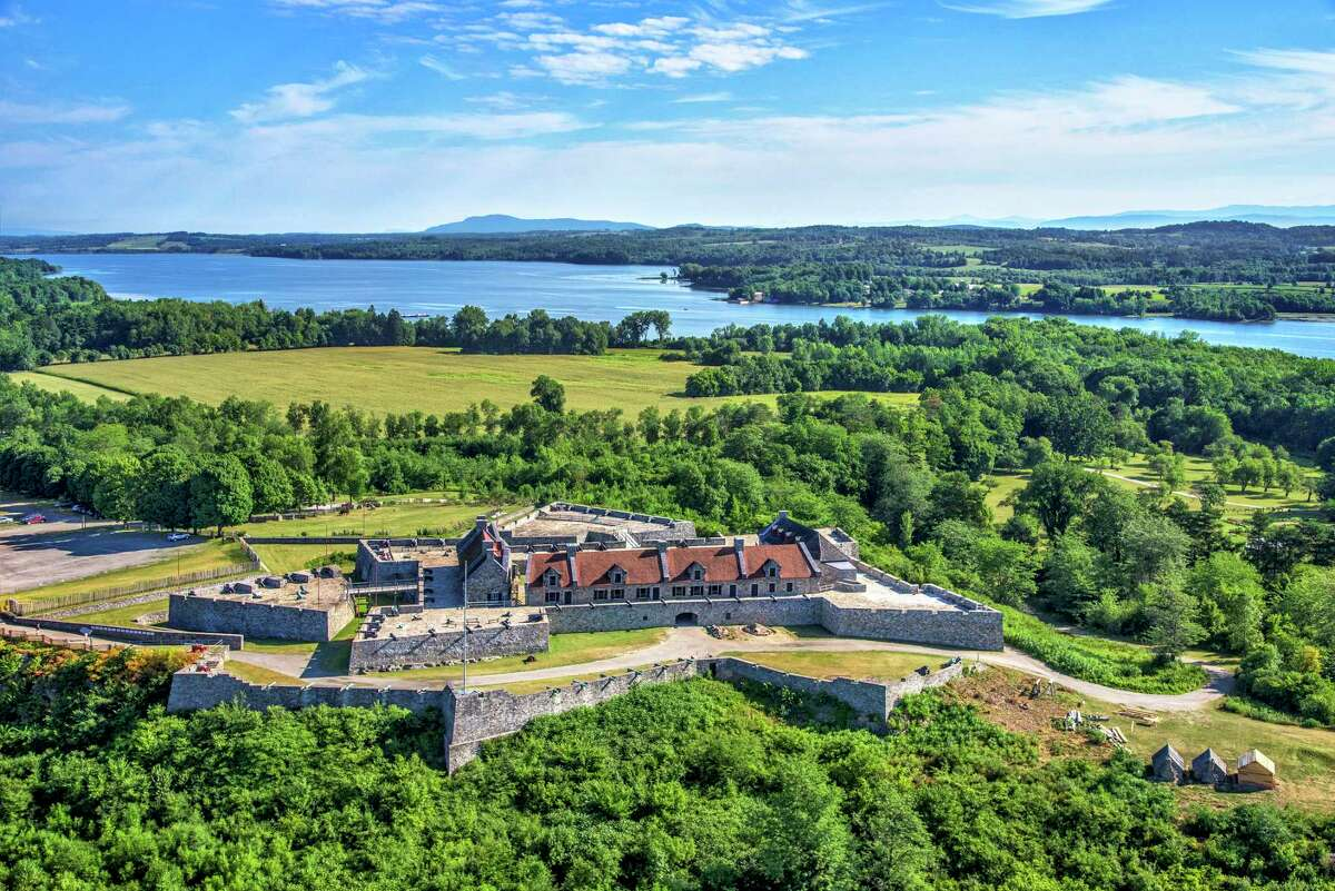 Aerial view of Fort Ticonderoga from Mount Defiance. Copyright Fort Ticonderoga and Photo Credit Carl Heilman II.