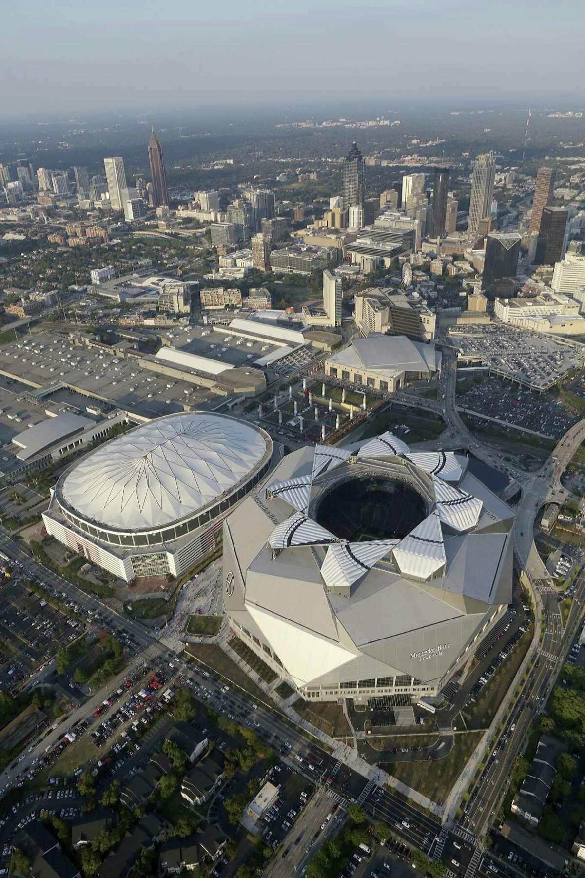 This aerial photo shows the Mercedes-Benz Stadium in Atlanta on Sunday, Sept. 17, 2017. (Akili-Casundria Ramsess/Atlanta Journal-Constitution via AP) ORG XMIT: GAATJ201 ORG XMIT: MER2017091720280660