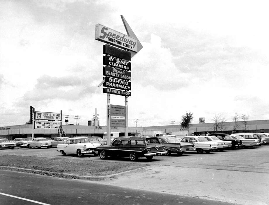 August 24, 1964: This pylon stands on Buffalo Speedway north of Bissonnet, marking the location of the newly renovated and enlarged Speedway Shopping Center. Located on a five-acre tract, the center contains 38,000 square feet of floor space and its stores and shops offer a wide variety of merchandise and services. Photo: Orie Collins, Houston Chronicle