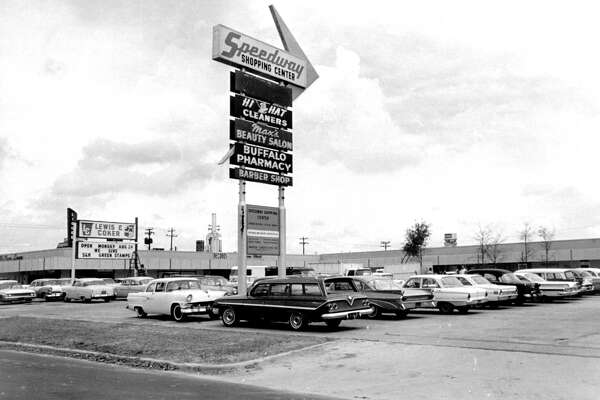 August 24, 1964: This pylon stands on Buffalo Speedway north of Bissonnet, marking the location of the newly renovated and enlarged Speedway Shopping Center. Located on a five-acre tract, the center contains 38,000 square feet of floor space and its stores and shops offer a wide variety of merchandise and services.