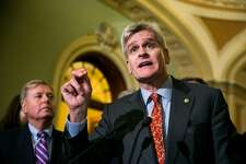 Sen. Bill Cassidy (R-La.) at a news conference regarding health care legislation he is co-sponsoring, on Capitol Hill in Washington, Sept. 19, 2017. The Graham-Cassidy proposal would do away with many of Affordable Care Act�s requirements, and could leave leave millions without coverage. At left is Sen. Lindsay Graham, (R-S.C.), the bill's co-sponsor. (Al Drago/The New York Times)Sss