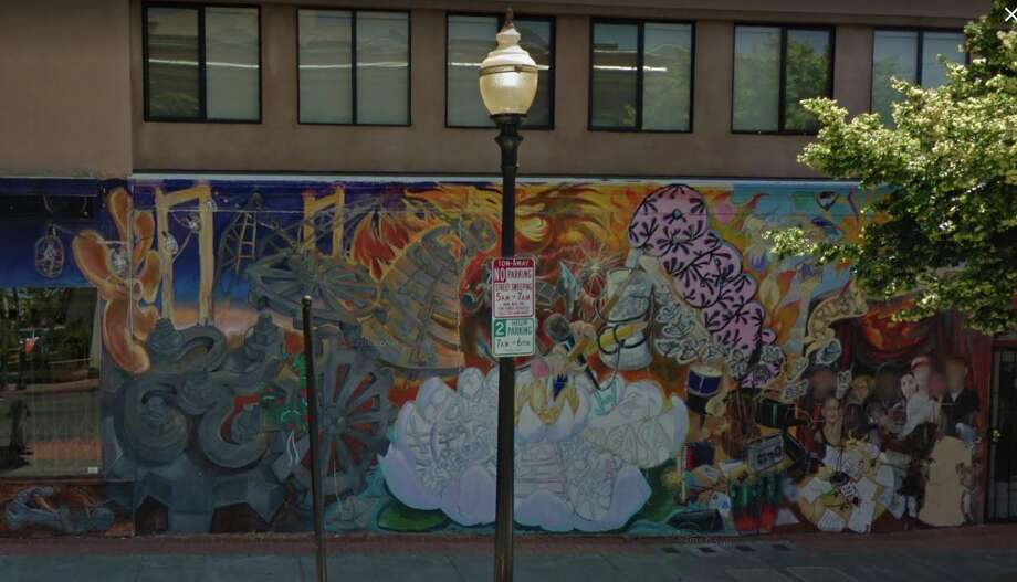 The 'Vallejo Rising' mural on the west side of 401 Georgia St., Vallejo, prior to being painted over by a 'Transformers Universe: Bumblee' production crew in September 2017. Photo: Google Street View