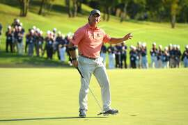 NARITA, JAPAN - SEPTEMBER 10:  Scott McCarron of the United States reacts after making his birdie putt on the 18th green during the final round of the Japan Airlines Championship at Narita Golf Club-Accordia Golf on September 10, 2017 in Narita, Chiba, Japan.  (Photo by Masterpress/Getty Images)