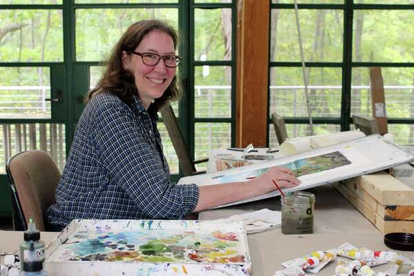 Landscape painter Wynn Yarrow, of Elmira, N.Y., at the Weir Farm Studio during her time as September's Artist-in-Residence.
