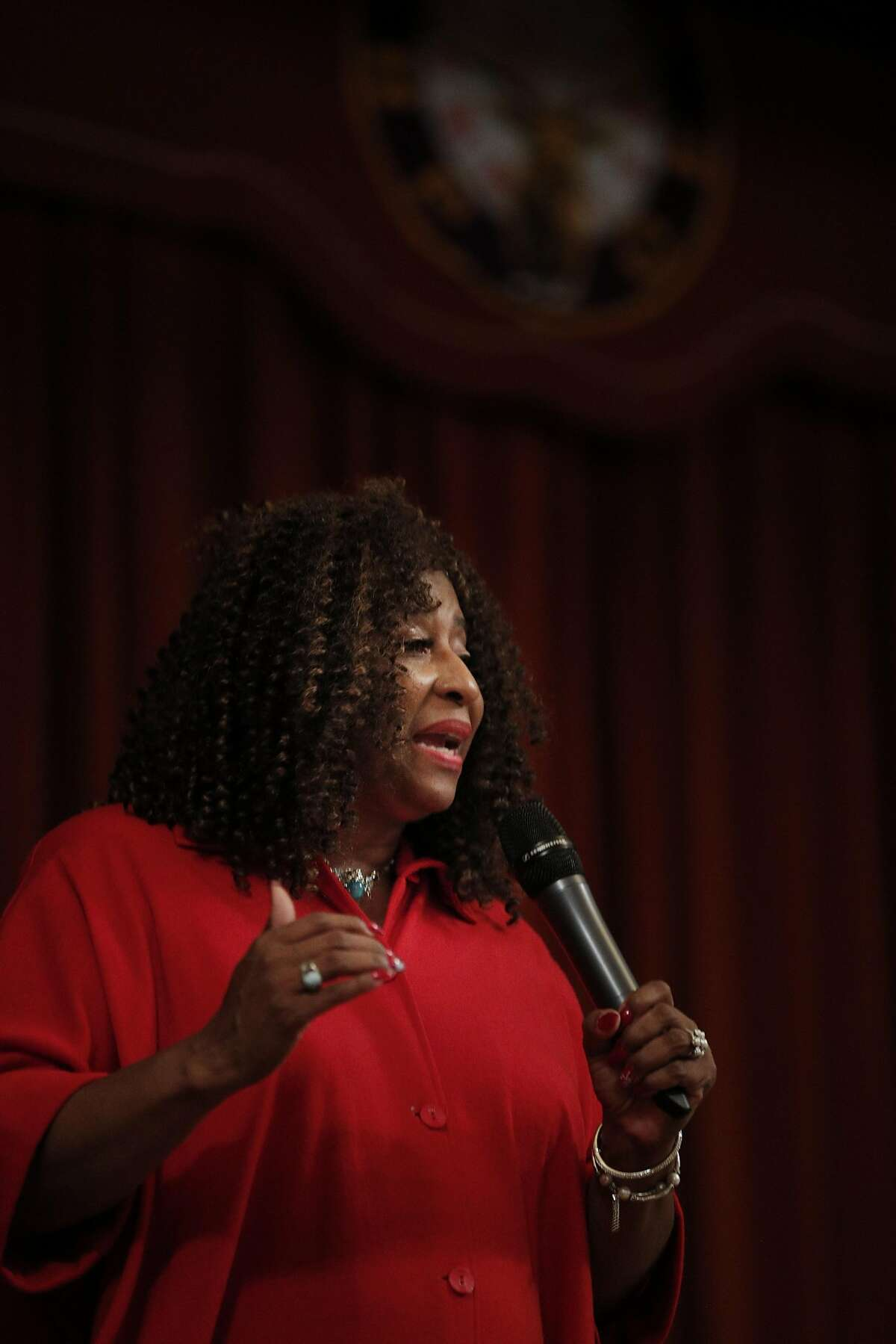 Pamela Price, who is running for Alameda County District Attorney, during a presentation of progressive candidates for several local elected offices at the Elks' Lodge in Alameda, on Wednesday, September 13, 2017.