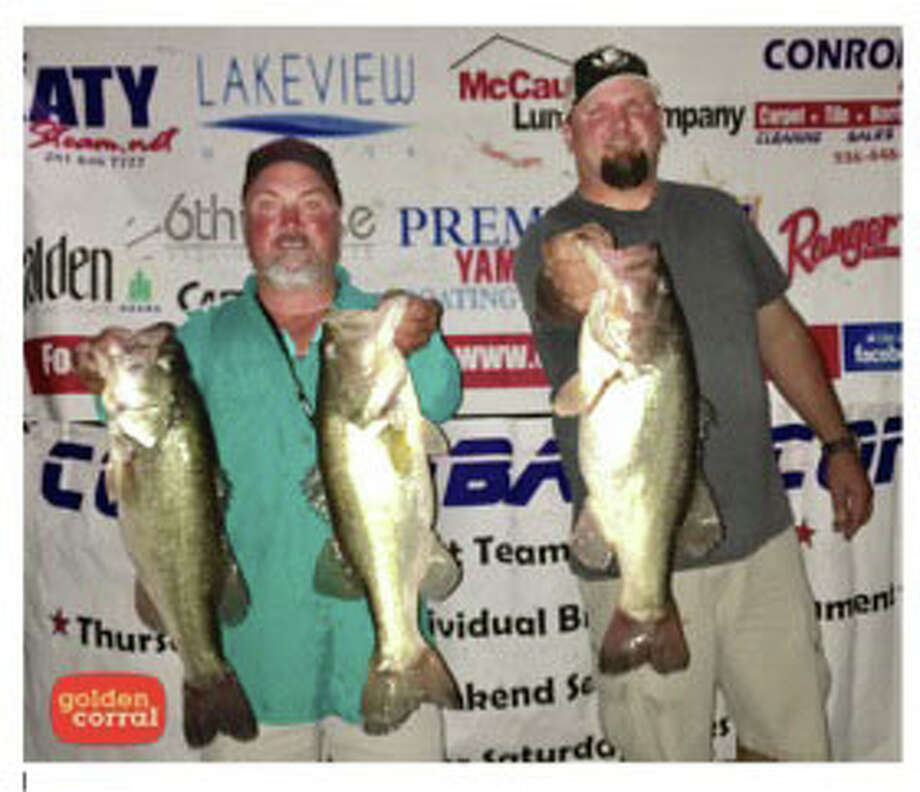 Steve Lee and Aaron Schulte came in first place in the CONROEBASS Tuesday Night Tournament with a weight of 16.86 pounds. Photo: Conroe Bass