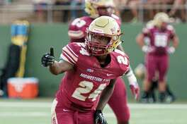 In this Aug. 31, 2017, photo provided by Midwestern State University, cornerback Robert Grays gestures during a game against Quincy University in Wichita Falls, Texas. On Wednesday, Sept. 20, 2017, university officials released a statement mourning the death of Grays who died Tuesday, Sept. 20, after suffering a neck injury while making a tackle during a home game last weekend. (Zeno Ferguson/Midwestern State University via AP)