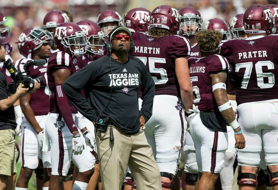 Texas A&M head coach Kevin Sumlin watches a replay on the scoreboard during a timeout against Louisiana-Lafayette during the first quarter of an NCAA college football game Saturday, Sept. 16, 2017, in College Station, Texas. (AP Photo/Sam Craft) Photo: Sam Craft, FRE / AP